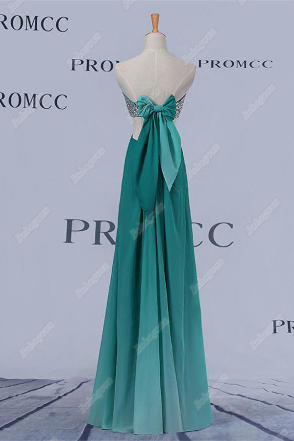 Elegant Teal Long Sweetheart Beading Ombre Chiffon Prom Dresses Z0408