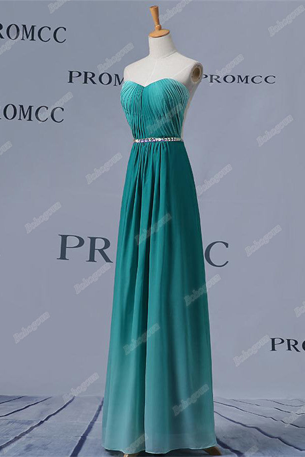 Sweetheart Open Back Long Gradient Chiffon Simple Beaded Elegant Prom Dresses Z0409