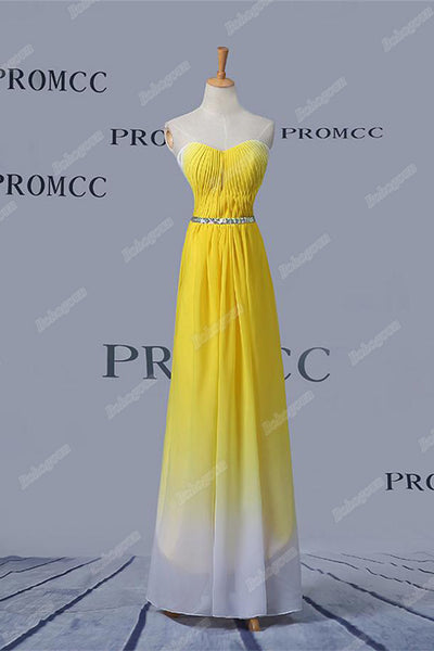 Beautiful Yellow And White Ombre Chiffon Long Beading Elegant Prom Dresses Z0410