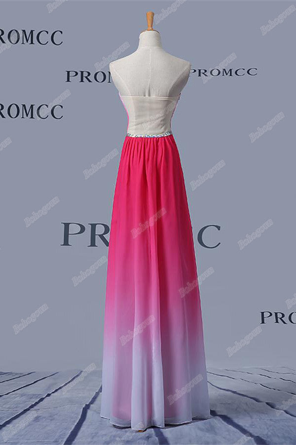 Lovely Long Ombre Chiffon Beading A-line Backless Strapless Prom Dresses Z0412