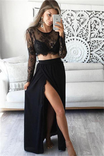 2 Pieces Long A-line Lace Chiffon Long Sleeves Black Elegant Prom Dresses Z0415