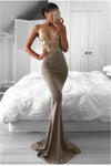 Spaghetti Straps Long Mermaid V-neck Simple Elegant Gold Lace Prom Dresses Z0419