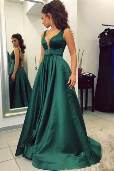 Charming A-line V-neck Long Green Open Back Simple Cheap Prom Dresses Z0424