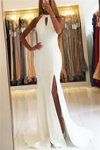 Lovely Elegant Ivory Long Front Split Open Back Mermaid Sheath Simple Prom Dresses Z0425