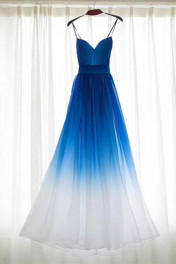 Ombre Chiffon Long A-line Royal Blue And White Prom Dresses Z0434