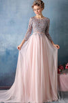 Long Sleeves Sweep Train Pink Chiffon Gray Lace Long Zipper Back Beauty Prom Dresses Z0435