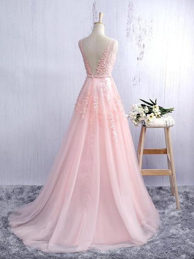 Charming Long A-line Pink Lace Tulle Open Back V-neck Prom Dresses Z0437