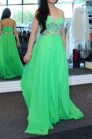Flowy Sweetheart Green Long Beaded Chiffon A-line Elegant Prom Dresses Z0457