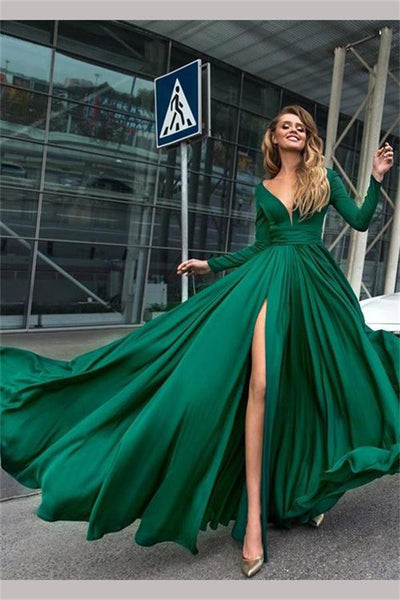 Flowy Long Front Split Green Chiffon Backless Elegant Prom Dresses With Sleeves Z0464