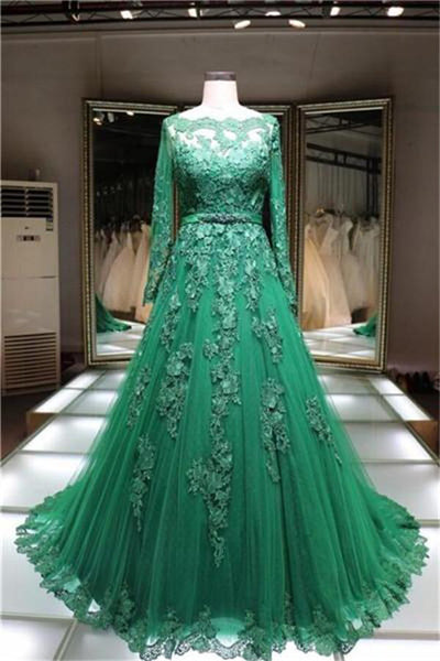 Formal Long Sleeves Lace Up Green Lace Tulle Long A-line Elegant Prom Dresses Z0484