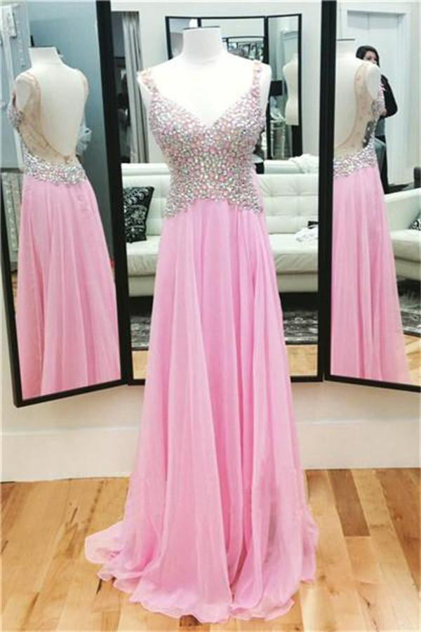 Sparkly Colorful Long Pink Chiffon A-line Backless Prom Dresses With Straps Z0486
