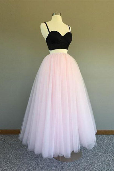 2 Pieces Beautiful Black And Pink Long Elegant Spaghetti Straps Prom Dresses Z0499