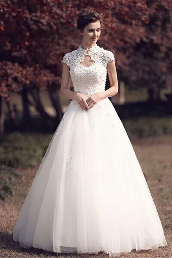 Vintage Long Cap Sleeves Lace Beaded Tulle Lace Up White Wedding
