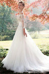 Off The Shoulder Long Sleeves Lace Beading Elegant Long White Wedding Dresses Z0502