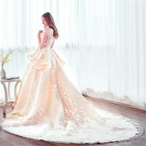 Modest Princess Long Ball Gown Lace Beading Wedding Dresses Quinceanera Dresses Z0503