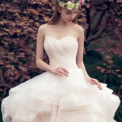 Elegant Strapless Ivory Lace Up Long Ball Gown Wedding Dresses Z0506