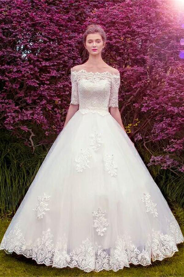 0d34792a46 Pretty Modest Half Sleeves Boat Neckline Ball Gown White Lace Up Wedding  Dresses Z0508