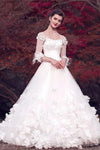 Beauty Princess Long A-line Eelegant White Wedding Dresses With Sleeves Z0510