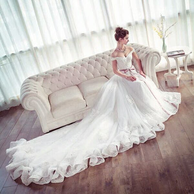 Real Beautiful Long White Lace Tulle Off The Shoulder Wedding Dresses With Train Z0512