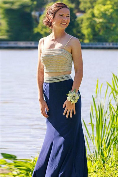 Spaghetti Straps Long 2 Pieces Mermaid Blue Elegant Prom Dresses Z0543