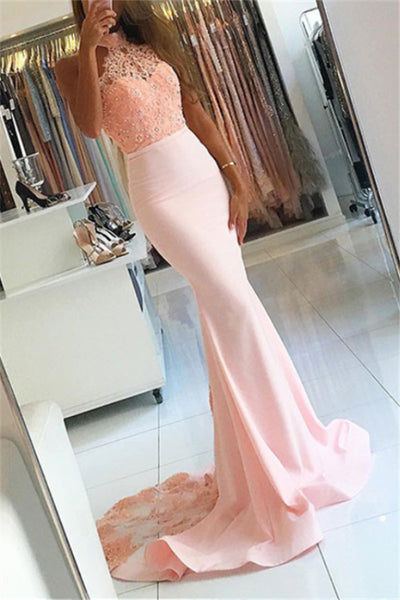 Pink Halter Open Back Long Mermaid Lace Prom Dresses For Teens Z0547