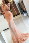 Pretty High Neck Open Back Long Pink Mermaid Prom Dresses With Sleeves Z0553