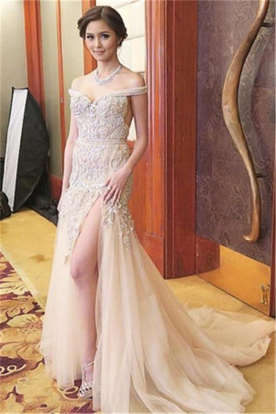 Elegant Long Off The Shoulder Lace Tulle Beautiful Prom Dresses For Teens Z0554