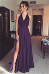 A-line Simple Purple Chiffon Long V-neck Charming Prom Dresses Z0555