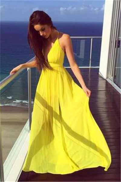 Cheap Flowy Yellow Chiffon Long V-neck Simple Prom Dresses Z0559