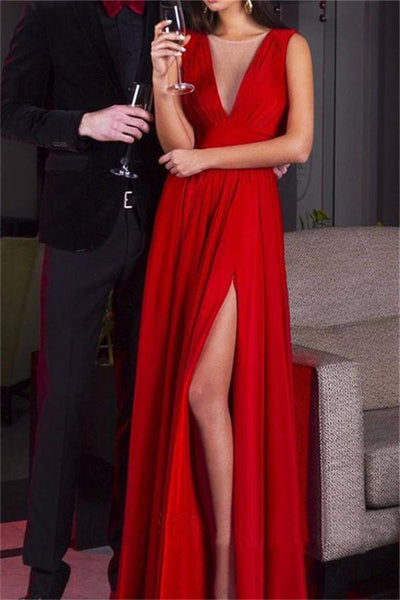Beautiful Red Scoop Neckline Long Chiffon A-line Prom Dresses Z0560