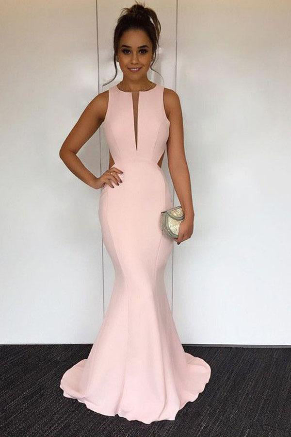 Sleeveless Long Mermaid Pink Elegant Beautiful Simple Backless Prom Dresses Z0563
