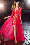 Charming Red Half Sleeves Long Lace Tulle A-line Prom Dresses Z0566