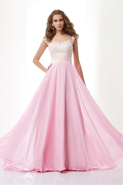 A-line Pink Chiffon Zipper Back Long Elegant Simple Cheap Prom Dresses Z0570