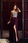 Purple Long A-line Strapless Beading Chiffon Backless Prom Dresses Z0572