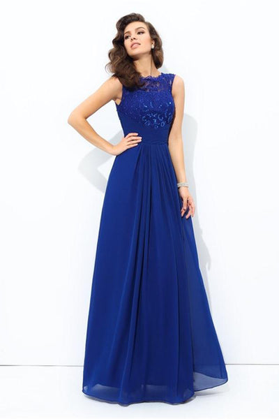 A-line Royal Blue Lace Chiffon Long Simple Elegant Cheap Prom Dresses Z0576