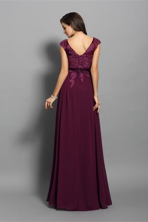 Plum Cap Sleeves Lace Chiffon Long Open Back Elegant Prom Dresses Z0580
