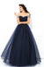 Off The Shoulder Beading Tulle Navy Blue Ball Gown Prom Dresses Z0581