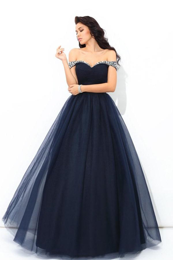 Off The Shoulder Beading Tulle Navy Blue Ball Gown Prom Dresses