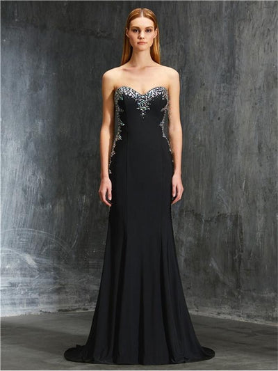 Charming Black And Silver Long Mermaid Open Back Beading Prom Dresses Z0583