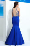 Royal Blue Mermaid Floor Length Beading Satin Sleeveless Prom Dresses Z0585