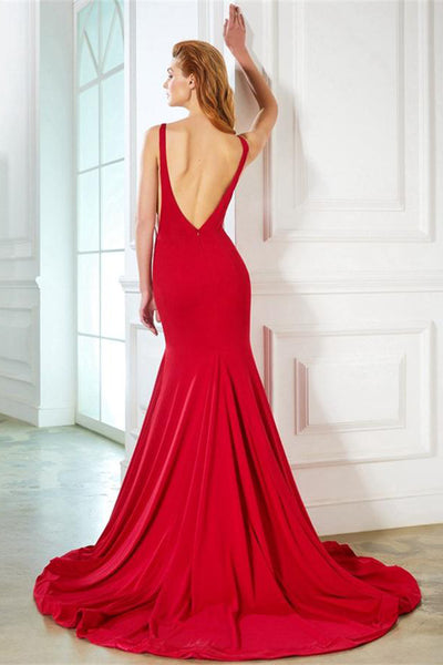 Mermaid Red Long Open Back Simple Elegant Prom Dresses Party Dresses Z0586