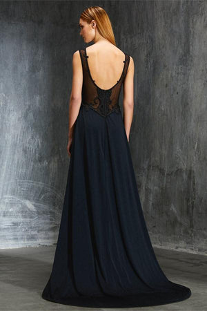 Elegant Black Chiffon Tulle Open Back Simple Cheap Long Prom Dresses Z0587