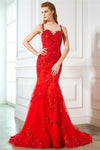 Sparkly Long Mermaid Lace Tulle Sleeveless Prom Dresses Evening Dresses Z0588