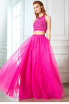2 Pieces Beautiful Halter Beading Tulle Backless Pink Prom Dresses Z0590