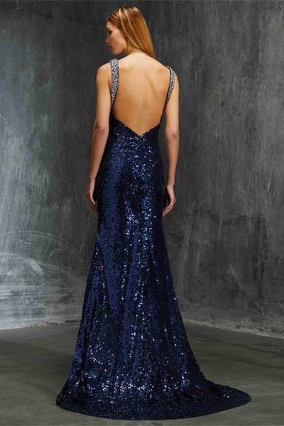 Beautiful Blue Sparkly Long Mermaid Open Back Modest Prom Dresses Z0591