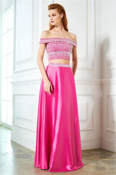 2 Pieces Off The Shoulder Sparkly Pink Long Beading Cute Prom Dresses Z0593