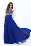 Beautiful Long Royal Blue Chiffon A-line Flowy Beaded Prom Dresses Z0598