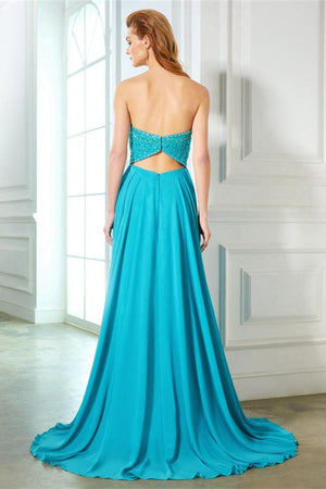 Simple Beading Blue Open Back Chiffon Long A-line Strapless Prom Dresses Z0600