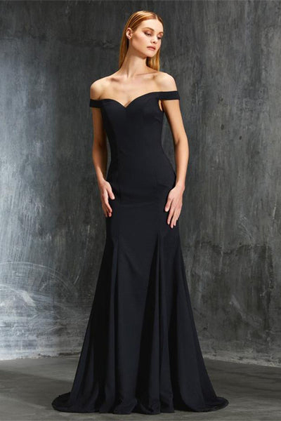 Cheap Off The Shoulder Black Long Elegant Simple Prom Dresses Z0601