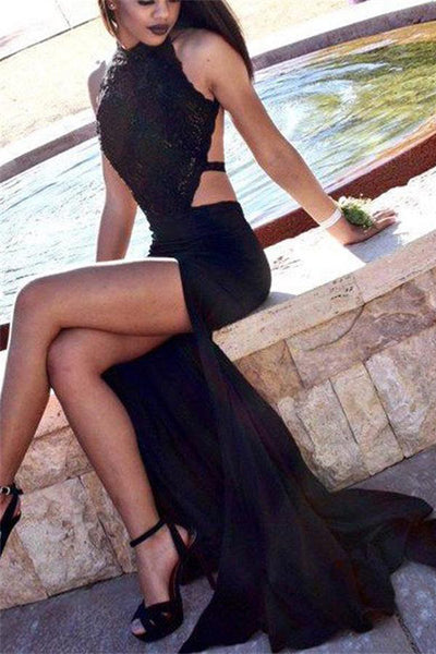 Black Charming Long Lace Open Back Sexy Simple Cheap Prom Dresses Z0606